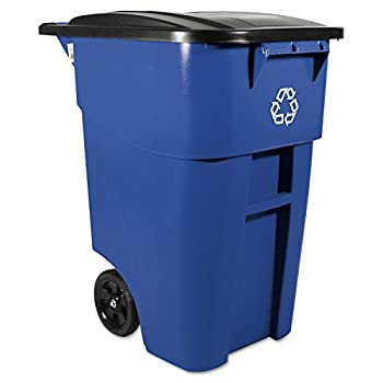 Rubbermaid Commercial RCP 9W27 BLU Brute Rollout Waste Receptacles Container, Square, Plastic, 50 gal, Blue