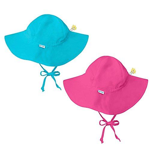 i play. 2 PK UPF 50+ Sun Protection Brim Infant Sun Hats-9-18M-Aqua Blue-Hot Pink