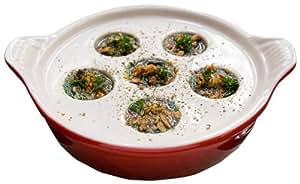 Le Creuset PG0017-0067 Stoneware 6 Hole Escargot Dish, Red