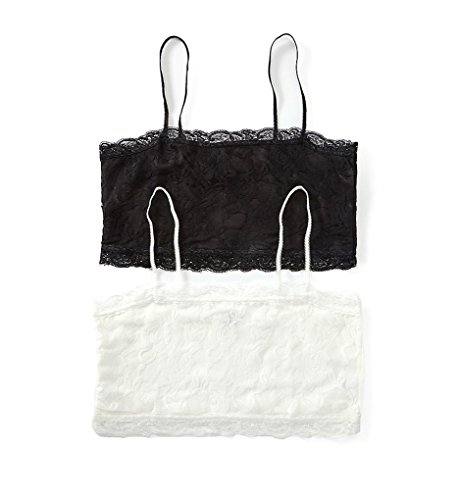 PURE STYLE Girlfriends Plus-Size Camiflage 2-Pack Plus Size Lined Stretch Lace Half Camisole, Black/White, 1X
