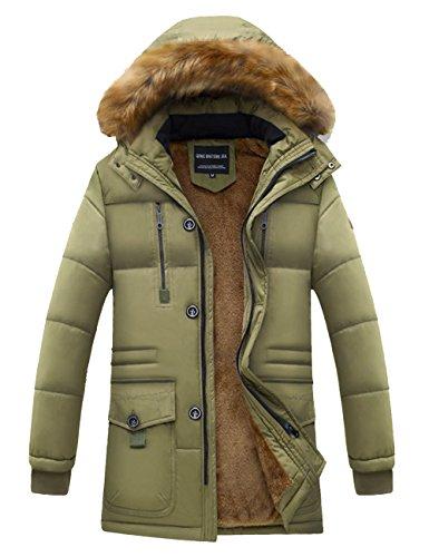 Incappucciato Di Jacket Piumino Beige Collare Pile Giacca Addensato Pelliccia Down Uomo Foderato Menschwear Puffer 85AYYw