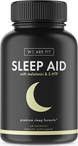Sleep Aid Pills with Melatonin & 5 HTP, Support Supplement for Sleeping Well & Feeling Rested- Includes Valerian Root, L Tryptophan, Chamomile, Lemon Balm, Ashwagandha & More,60 Veggie Caps