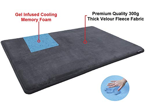 Dogbed4less Luxury Extra Large Cool Memory Foam Dog Bed Mat Pillow Topper Gel Cooling Pad Fit XL 48''X30'' Crate, Waterproof Non Skid Bottom, Gray by dogbed4less (Image #2)