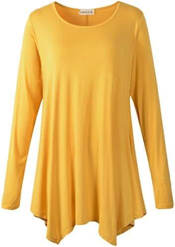 LARACE Womens Long Sleeve Flattering Comfy Tunic Loose Fit Flowy Top