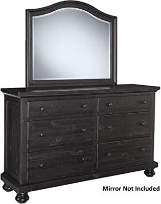 "Ashley Sharlowe B63531 64.88"" Dresser with 6 Drawers Bun Feet Ball-Bearing Side Glides and Solid Pine Wood Construction in Charcoal"