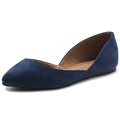 (Ollio Womens Shoe Faux Suede Slip On Comfort Light Pointed Toe Ballets Flats ZM1710F (8.5 B(M) US, Navy))