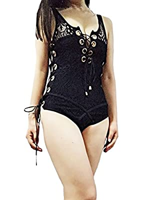 Jzlian Womens Sexy See Throngh Bangdage High Neck Sleeveless Lingerie Bodysuit