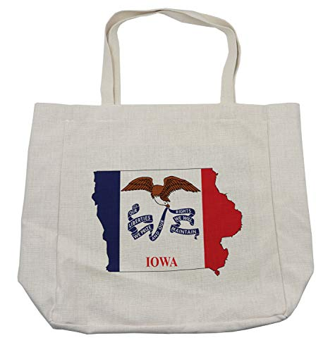 Lunarable Iowa Shopping Bag, Outline Map and Flag of Hawkeye State Bald Eagle USA, Eco-Friendly Reusable Bag for Groceries Beach Travel School & More, Cream ()
