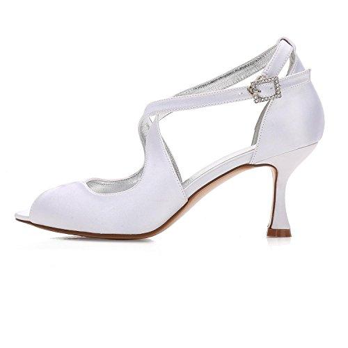 33 Fall YC Women's White Summer L Heels Spring Evening Toe Silk Peep Party Wedding Heels 17061 amp; da0YwqwHn