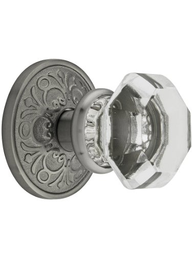 Lancaster Door Set with Old Town Crystal Knobs Privacy in Antique Pewter
