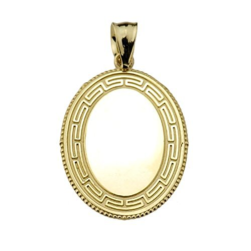 14k Yellow Gold Oval Engravable Greek Key Charm Pendant