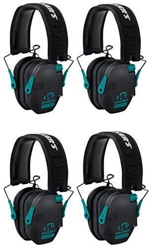 Walkers Razor Slim Electronic Shooting Muffs 4-Pack Bundle, Black and Teal (4 Items) by Walker's Game Ear