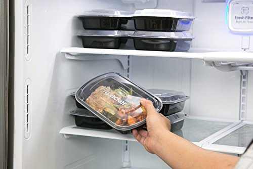 Fitpacker Meal Prep Containers [USA Made - 16 Pack] BPA Free Plastic Food Storage with Lids - Microwave, Dishwasher and Freezer Safe (One Compartment, 28oz)