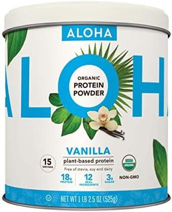 ALOHA Organic Vanilla Plant Based Protein Powder, 18.5 oz, 15 Servings, Vegan, Gluten Free, Non-GMO, Stevia Free, Soy Free, Dairy Free