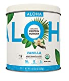 ALOHA Organic Plant Based Protein Powder, Vanilla, 18.5 oz, 15 Servings, Vegan, Gluten Free, Non-GMO, Stevia Free, Soy Free, Dairy Free