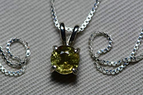 Natural Green Sapphire (1.30 Carat Round Natural Green Sapphire Necklace in Sterling Silver Appraised)