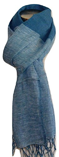 (100% Pure Linen Scarf, Natural Flax Linen Fabric, Linen Scarf (BLUE & WHITE). X2289)