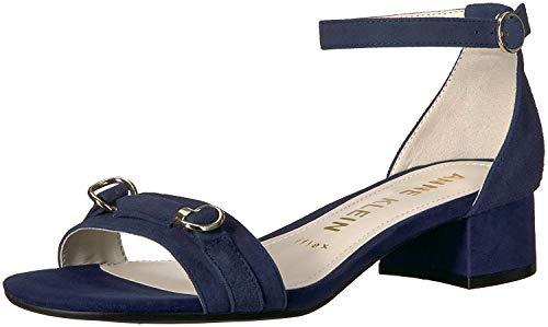 Anne Klein Women's ESME Heeled Sandal, Navy Suede, 7 M US ()