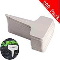 200pcs t-type PVC imperméable marqueurs T Tag plante - Premium Nursery Garden étiquettes - Eco Friendly - blanc grisâtre (6 x 10cm)