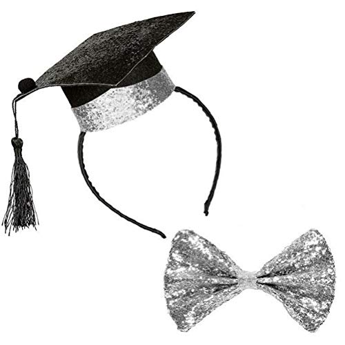 Amosfun Graduation Cap Headband with Silver Bow Tie Graduation Party Cosplay Costume Accessory for Graduation Party Favor Supplies -