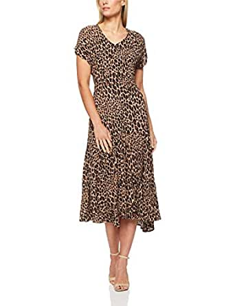 French Connection Women's Animal Tiered Longline Maxi, Multi, Eight