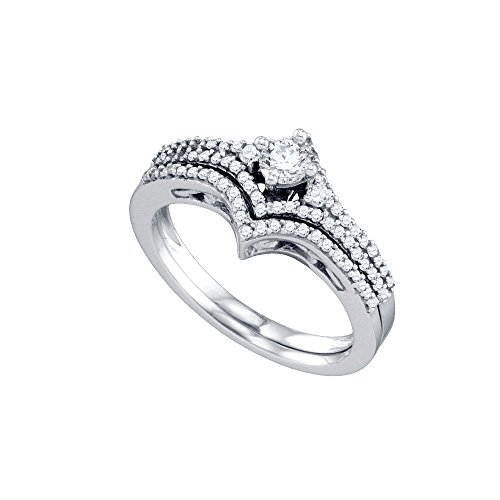 14kt White Gold Womens Round Diamond Chevron Bridal Wedding Engagement Ring Band Set 1/2 Cttw by JawaFashion