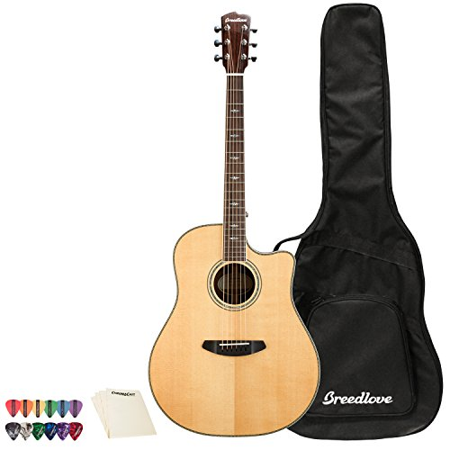 6 String Stage Dreadnought CE Sitka Spruce-Mahogany Acoustic-Electric Guitar with ChromaCast 12 Pick Sampler And Polish Cloth, Right Handed () - Breedlove SGDR01CESSMA-KIT-1