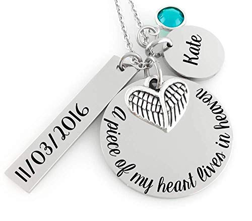 Remembrance Necklace - A piece of my Heart lives in Heaven - Date & Initial Charm - Angel Wing - Stainless Steel -