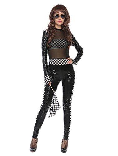 - JJ-GOGO Speed Racer Costume - Adult Sexy Mesh Black Race Girl Cosplay Costume for Women