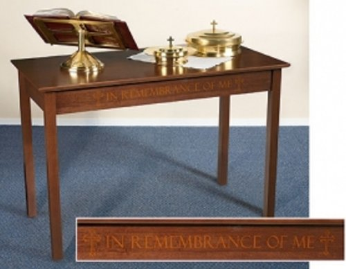 Silk-Screened Communion Table Maple Hardwood Silk-Screened,Walnut Stain by Autom