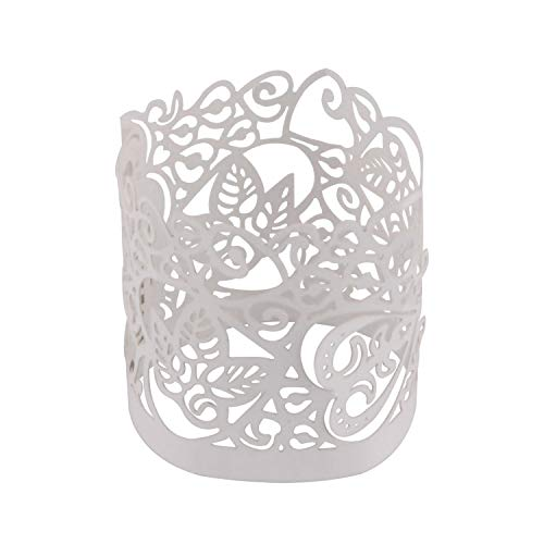- DriewWedding 50pcs Candle Wraps for Tealight, Flameless Tea Light Votive Wraps Little Vine Lace Laser Cut Decorative Wraps for LED Battery Tealight Candles Wedding Party Decoration