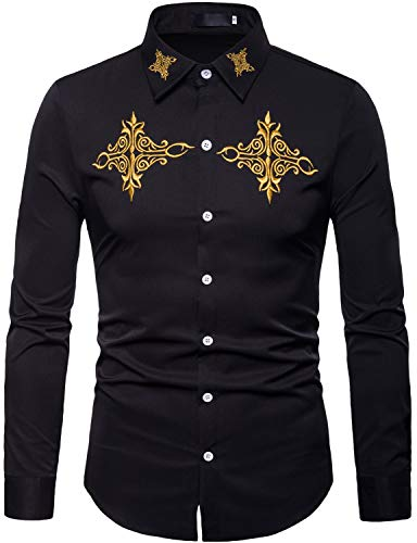 ZEROYAA Mens Hipster Gold Embroidery Design Slim Fit Long Sleeve Button Down Shirts ZHCL08 Black Large