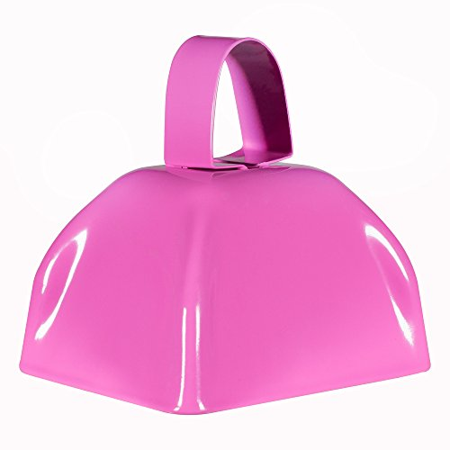 Metal Cowbells with Handles 3 inch Novelty Noise Maker - 12 Pack (Pink) ()