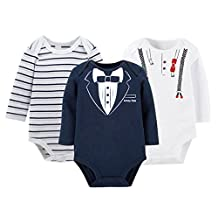 Baby Boys Winter Cotton Long Sleeve Gentle Bow Tie Onesies Set Strip Bodysuits layette for 9-12 Months White and Dark Blue