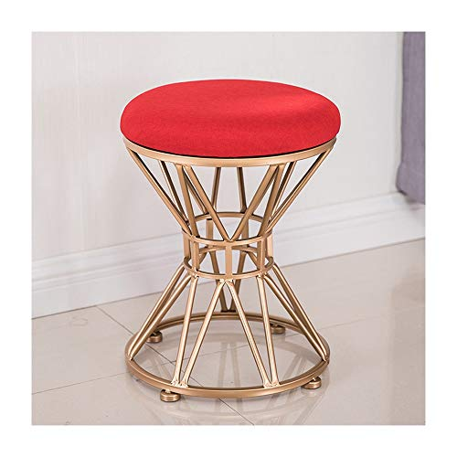 European Fashion Wrought Iron Small Stool Fabric Sofa Stool Simple Creative Shoes Bench Modern Makeup Chair Dressing Stool (Color : Red) -