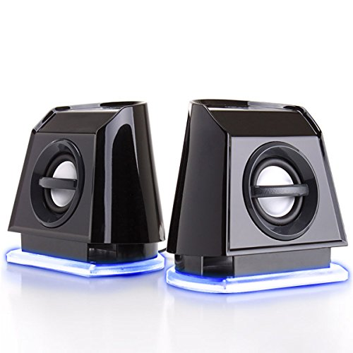 GOgroove 2MX LED Computer Speakers with Passive Subwoofer , Blue Glowing Lights and Volume Control - 3.5mm Audio Input Connection , USB Powered for Desktop and Laptop Computers