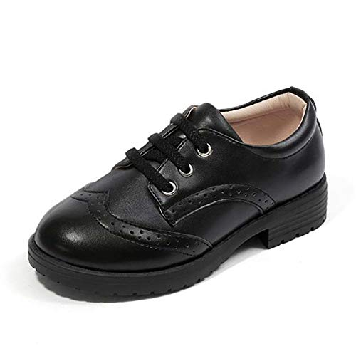 F-OXMY Boys Wing Tip Brogue Oxfords Dress Shoes Lace-up Non-Slip Casual Shoes (Little Kid/Big Kid) Black by F-OXMY