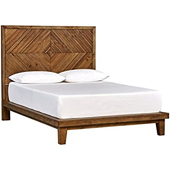Amazon Com Rivet Brecken Modern Wood Queen Bed Frame