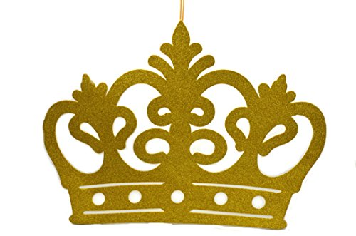 Princess Crown Glitter Foam Banner, Backdrop Decoration-Gold XXL (Gold Decoration Crown)