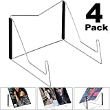 4 Pack Metal Bookstand, Book Stand, Adjustable Reading Stand, Small Book Rest for Kitchen Counertops, Music Book Easel Display Holder