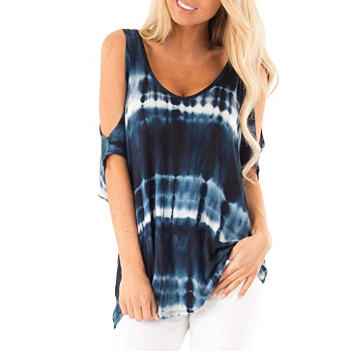aihihe Women Summer Casual Short Sleeve V Neck Strappy Cold Shoulder T-Shirt Tops Blouses (Navy,XL) ()