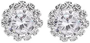 Fashion Women's Wedding Sterling Silver AAA CZ Simulated Diamond Classic Halo Stud Earrings