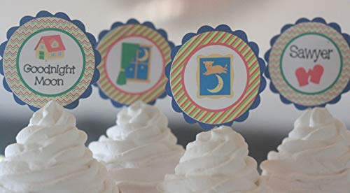 12 - Goodnight Moon Storybook Story Book Cow Moon Theme Shower Cupcake Toppers - Party Packages, Favor Tags, Banners, Door Signs Available