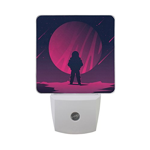 Ledvie Martian Looking At Planet Plug In Dusk To Dawn Light Sensor Led Night Light Wall Light For Bedroom  Babys Kids Room Hallway  Stairs  Energy Efficient