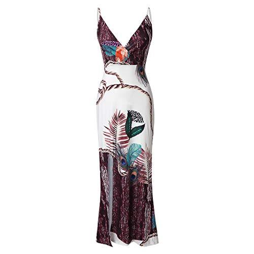 Sinfu Women Sexy Long Party Maxi Dress V-Neck Sleeveless Spaghetti Strap Thigh Slit Slip Dress Casual Peacock Feather Print Dress (L)