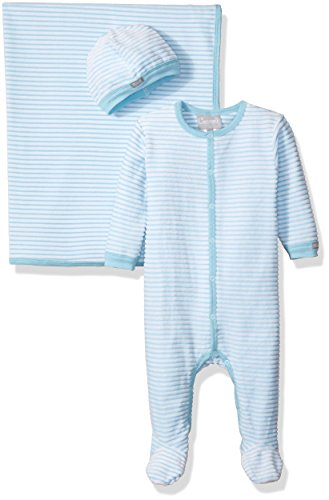 Coccoli Baby Boys' High Low Velour Footie Cap Blanket, Blue Stripes, 3 Months