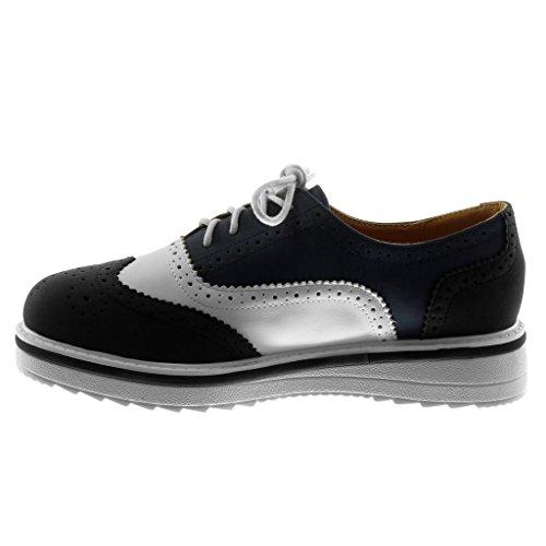 cm Sneaker Moda 3 5 Angkorly Scarpe Nero Zeppe Piatto di Tacco Scarpa Donna Tacco Perforato Derby Suola ZWYBqW