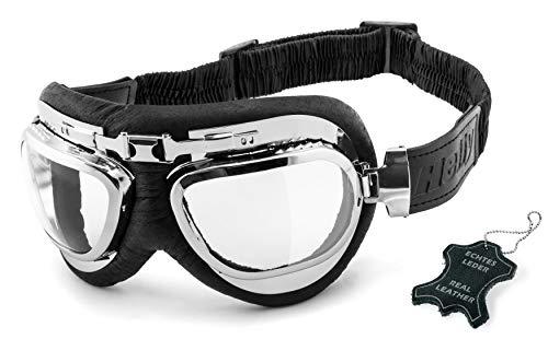 HELLY® – No.1 Bikereyes® | Motorradbrille | echt Leder | beschlagfrei, winddicht, HLT® Kunststoff-Sicherheitsglas nach…