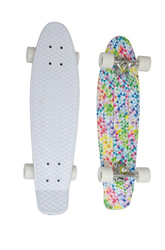 MoBoard 27' Inch Graphic Complete Skateboard (White/Mosaic - White)