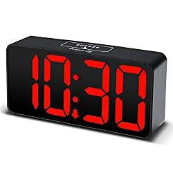 DreamSky Compact Digital Alarm Clock with USB Port for Charging, Adjustable Brightness Dimmer, Bold Digit Display, 12/24Hr, Snooze, Adjustable Alarm Volume, Small Desk Bedroom Bedside Clocks, Red